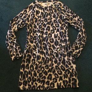 Zara Trafaluc Leopard Print Mod Mini Dress Size M